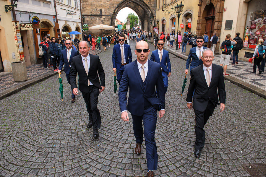 grooms men on Charles Bridge