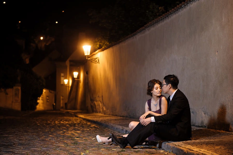 Couple is sitting on the street